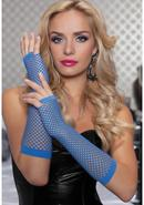 Elbow Fishnet Gloves - Blue - Os
