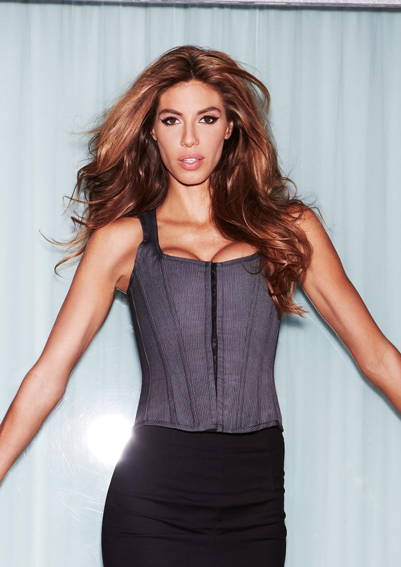 Suit Inspired Tank Corset Pinstripe S